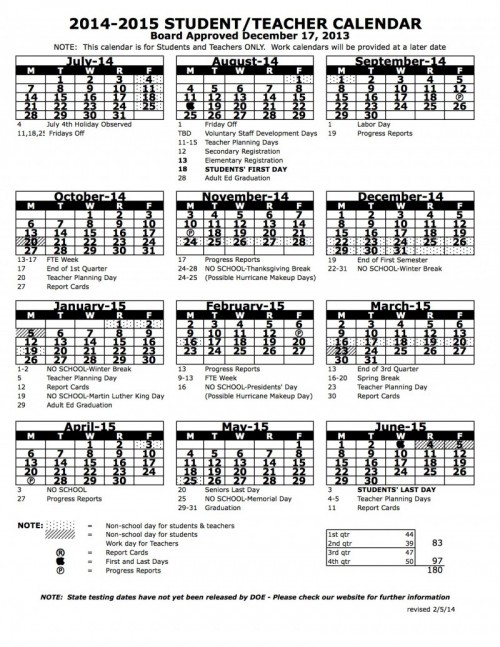 2014 - 2015 calendar