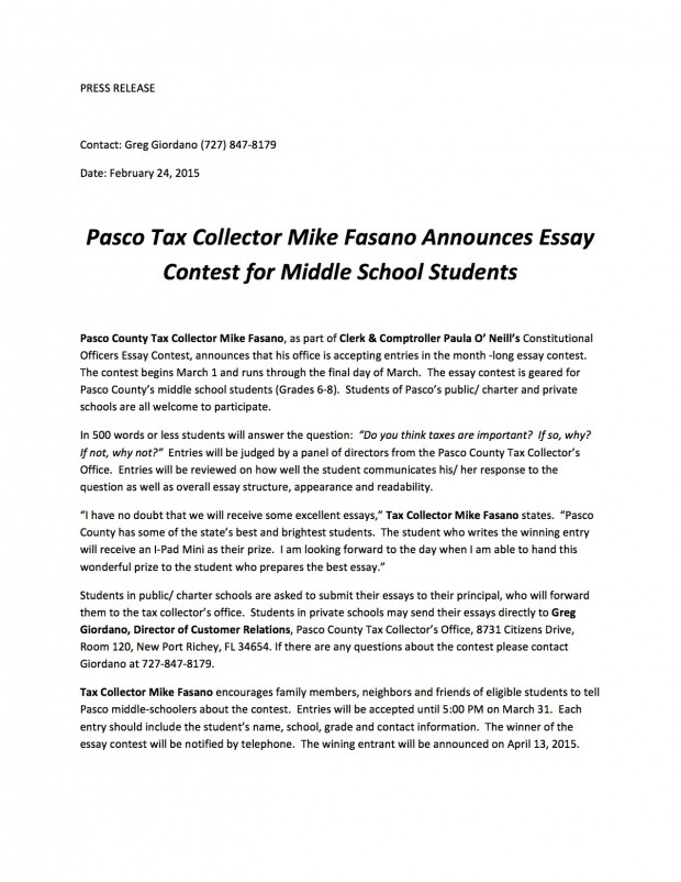 essay contest for middle school students 2012