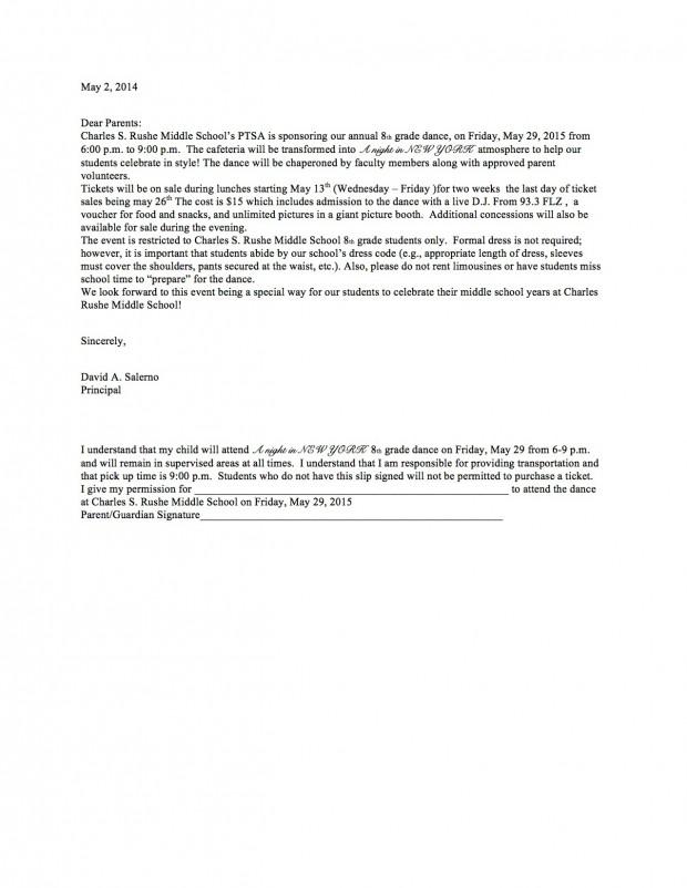 8th Grade Dance Parent Letter